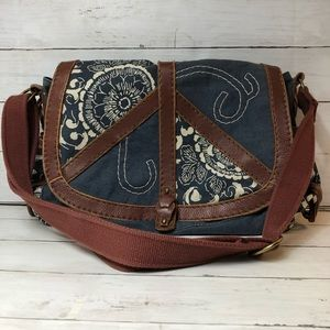 Lucky Brand Leather and Canvas messenger peace bag
